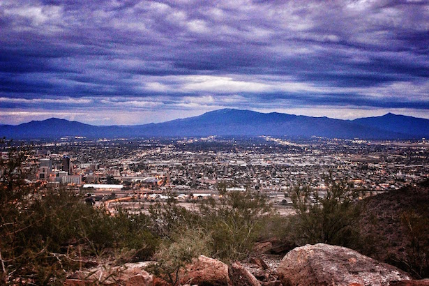 The purple mountains surrounding Tucson