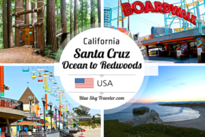 "Santa Cruz might be the ""best kept secret"" on your Northern California Route 1 trip or weekend getaway. -->> http://www.blueskytraveler.com/wp-content/uploads/2016/06/PIN.BlueSkyTraveler.OceantotheRedwoods-300x200.png"