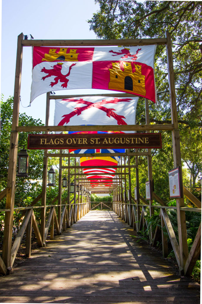 Photo: Teri Didjurgis • BlueSkyTraveler || Flags over St. Augustine Colonial Quarter