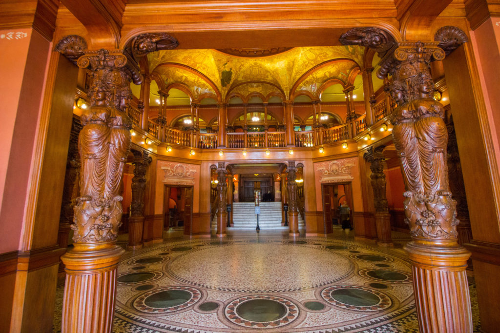 Photo: Teri Didjurgis • BlueSkyTraveler || Ponce de Leon Hotel • Flagler College Lobby