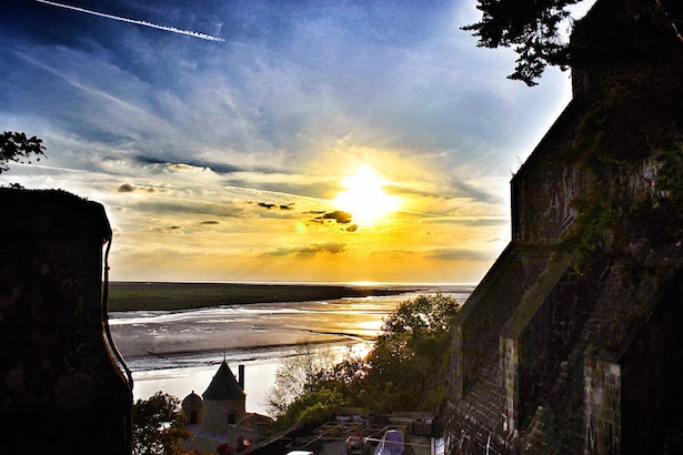 Sunset view from the Ramparts of Mont St. Michel