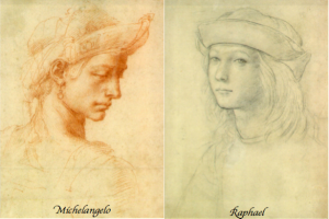 Drawings by Michelangelo and Raphael