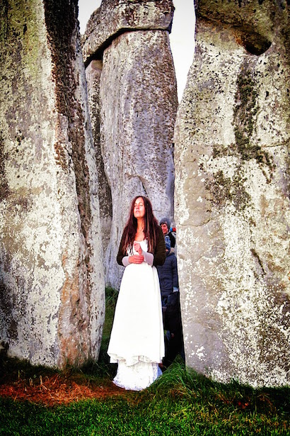 Druids welcoming the sun at Stonehenge