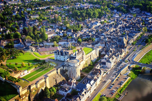 Riding in the Hot Air Balloon approaching Chateau Amboise