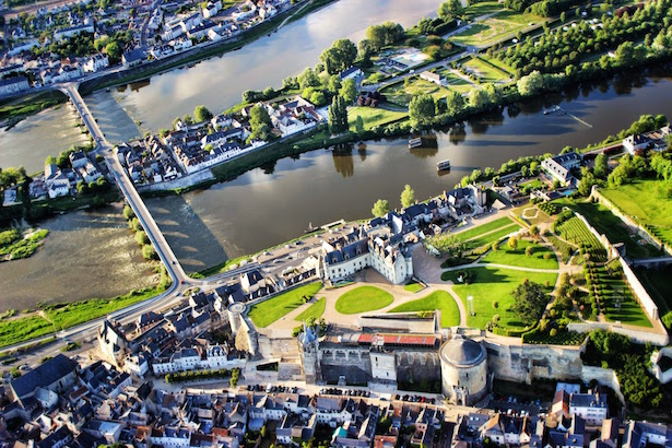 Breathtaking views over Chateau Amboise & the Loire Valley in France.